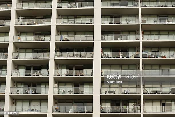 An apartment building stands in the suburb of Rhodes in Sydney Australia on Sunday Jan 8 2017 Australian house values increased at the fastest pace...