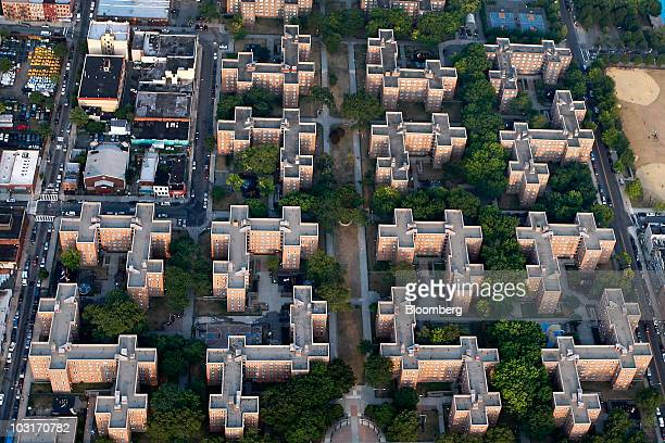 An apartment complex stands between Hoyt and Bond Street in Brooklyn in this aerial photo taken over New York US on Wednesday July 7 2010 New York...