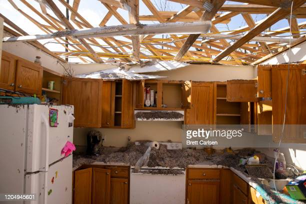 An apartment is shown destroyed by high winds from one of several tornadoes that tore through the state overnight on March 3 2020 in Cookeville...