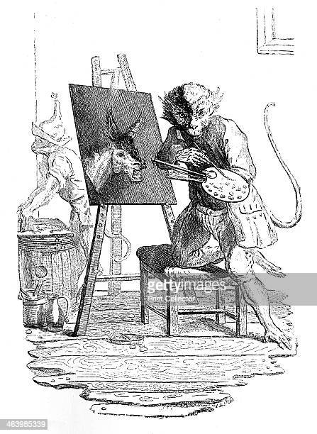 'An Ape painting an Ass' 1753 Illustration from Social Caricature in the Eighteenth Century With over two hundred illustrations by George Paston...