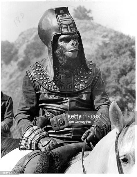 An ape rides a horse in a scene from the film 'Planet Of The Apes' 1968