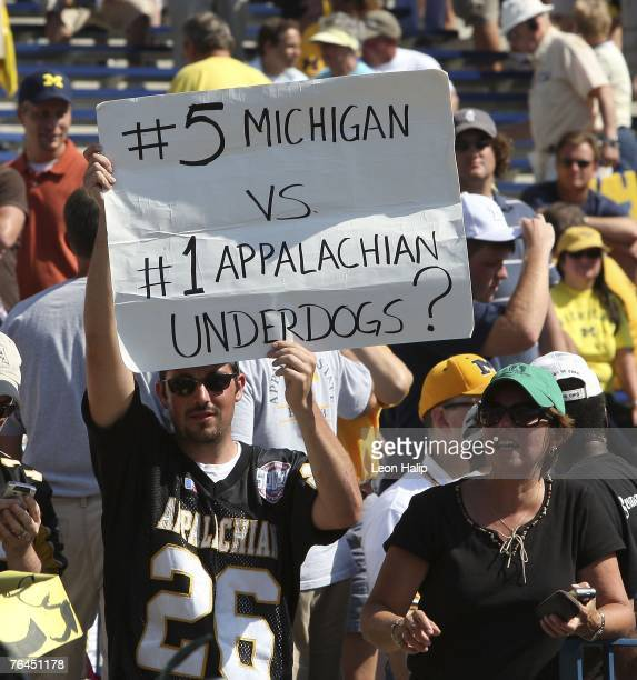 An Appalachian State Mountaineers fan shows his support for his team during the game against the Michigan Wolverines on September 1, 2007 at Michigan...