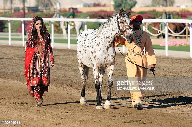 An Appaloosa horse popular in the United States is walked along the track during an an equestrian event attended by Britain's Queen Elizabeth II and...