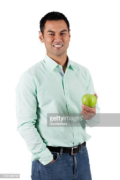 una manzana al día - handsome pakistani men fotografías e imágenes de stock