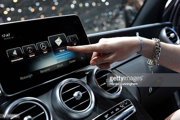 An Apple CarPlay screen is seen in a MercedesBenz car during the press day of the 84th International Motor Show which will showcase novelties of the...