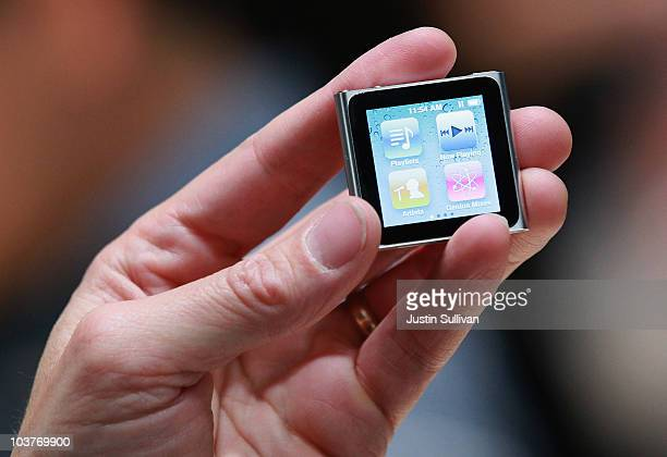 An Apple employee holds a new iPod Nano at an Apple Special Event at the Yerba Buena Center for the Arts September 1, 2010 in San Francisco,...