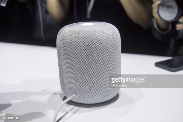 An Apple Inc HomePod speaker sits on display during the Apple Worldwide Developers Conference in San Jose California US on Monday June 5 2017 The...