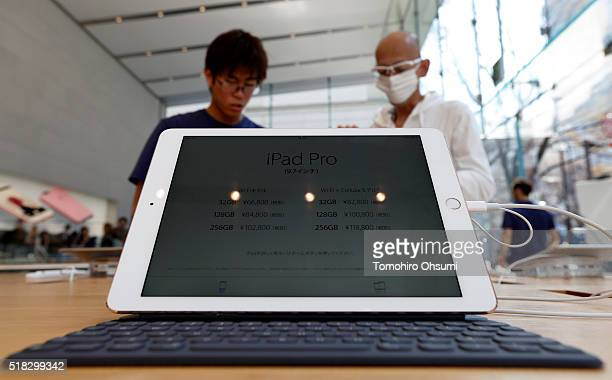 An Apple Inc iPad Pro 97 inch is displayed at the company's Omotesando store on March 31 2016 in Tokyo Japan Apple Inc launched its iPhone SE and...