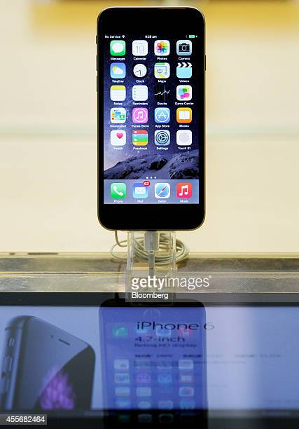 An Apple Inc iPhone 6 stands on display during the sales launch of the iPhone 6 and iPhone 6 Plus at the company's George Street store in Sydney...