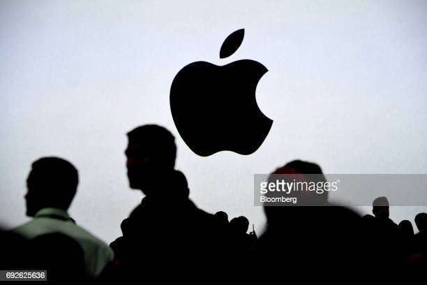 An Apple Inc logo is displayed on a screen during the Apple Worldwide Developers Conference in San Jose California US on Monday June 5 2017 The...