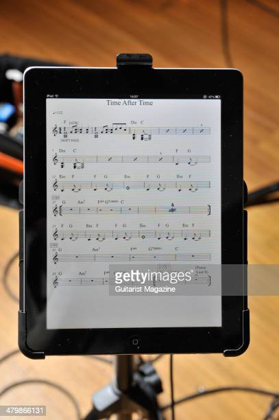 An Apple iPad showing a musical score photographed during a shoot for Guitarist Magazine January 6 2012