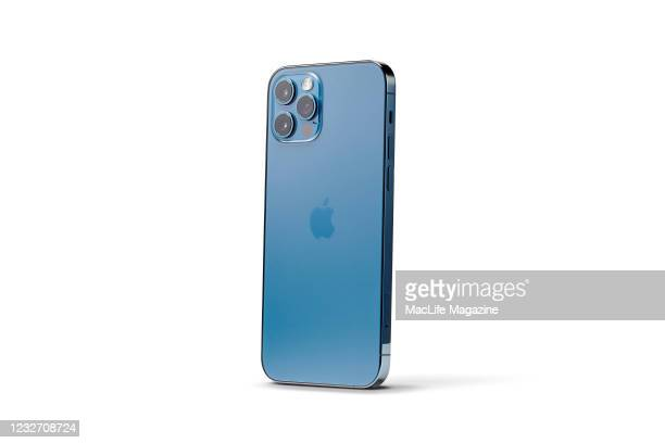 An Apple iPhone 12 Pro with a Pacific Blue finish, taken on October 28, 2020.