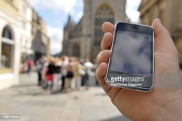 An Apple iPhone 3GS being held. August 11, 2009.