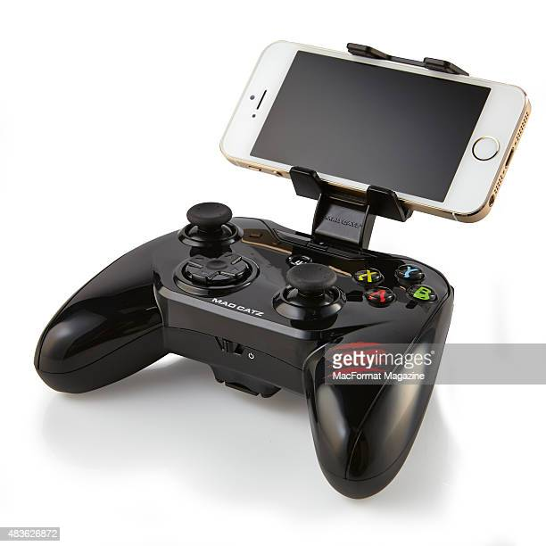 An Apple iPhone 6 fitted to a Mad Catz CTRLi iOS game controller taken on November 3 2014