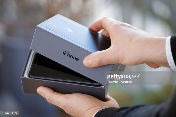 An Apple iphone 8 is taken out of the box on February 06 2018 in Berlin Germany