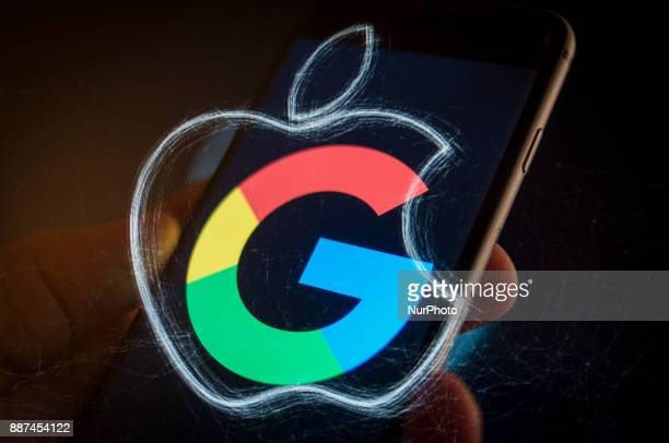 An Apple iPhone with a Google logo is seen in this photo illustration on December 6, 2017.