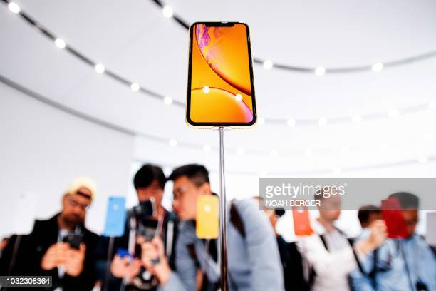 An Apple iPhone Xr model rests on display during a launch event on September 12 in Cupertino California New iPhones set to be unveiled Wednesday...