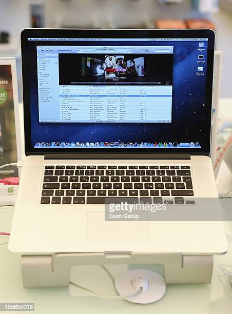 An Apple MacBook Pro laptop computer with Retina display stands on a table at a Gravis Apple retailer on November 6 2012 in Berlin Germany Apple is...