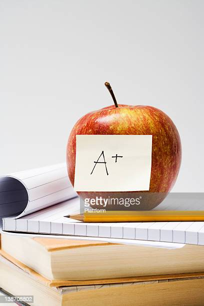 An apple on a note pad, close-up.