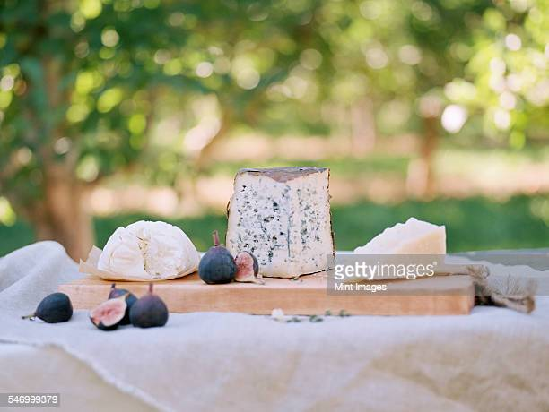 An apple orchard in Utah. A table with food, a cheese board.