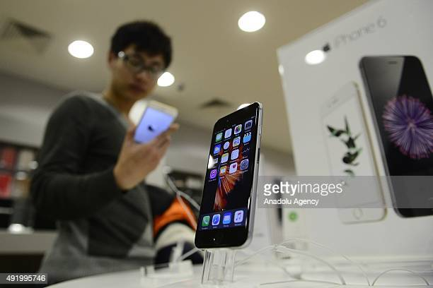 An Apple phone is seen at a shop after Apple launched iPhone 6s and 6s plus in Moscow Russia on October 09 2015
