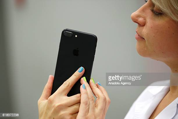 An Apple phone is seen at a shop after Apple launched iPhone 7 and 7 plus in Moscow Russia on October 26 2016
