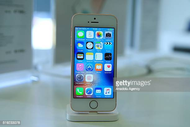 An Apple phone is seen at a shop after Apple launched iPhone SE in Moscow Russia on April 05 2016