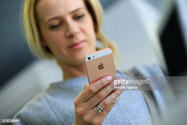 An Apple phone is seen at a shop after Apple launched iPhone SE in Moscow Russia on April 5 2016