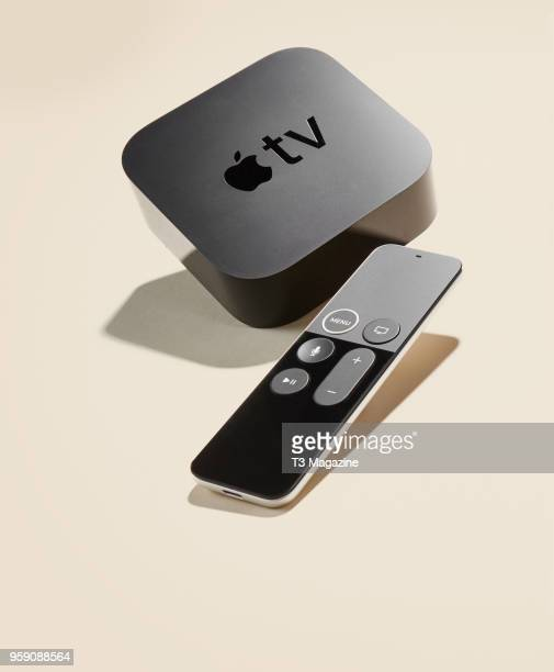 An Apple TV 4K box and remote control taken on October 27 2017