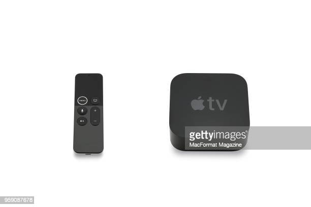 An Apple TV 4K box and remote control taken on October 3 2017