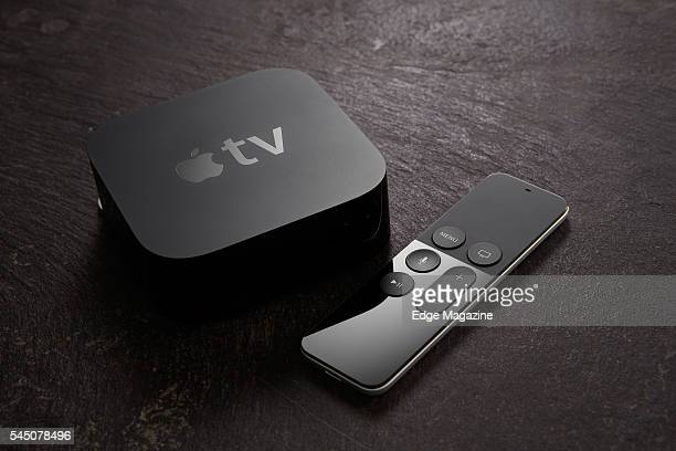 An Apple TV device and Siri remote control taken on November 19 2015