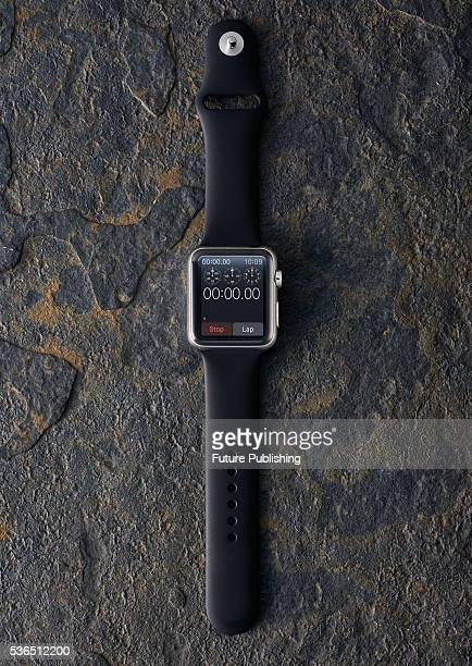 An Apple Watch fitted with a Sports Band strap taken on September 22 2015