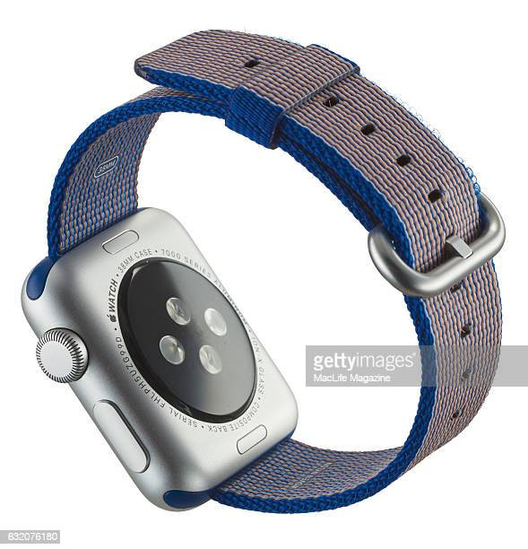 An Apple Watch fitted with a Woven Nylon band taken on April 25 2016