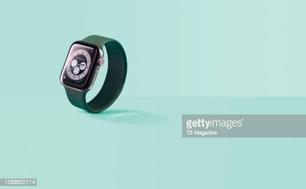 An Apple Watch SE smartwatch, taken on October 8, 2020.