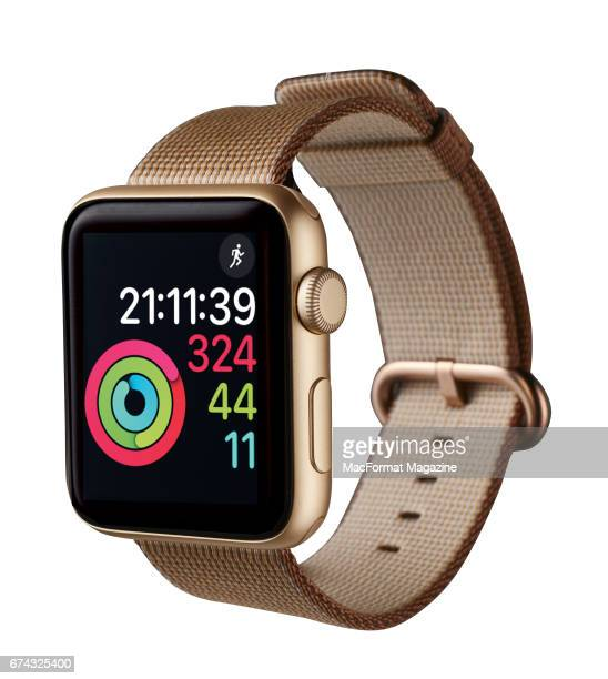 An Apple Watch Series 2 smartwatch with a Gold Aluminum case and Toasted Coffee/Caramel woven nylon strap taken on September 23 2016