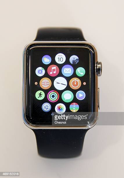 An Apple Watch smartwatch displayed at Galeries Lafayette Paris Haussmann on April 10 2015 in Paris France Preorders for the Apple Watch are...