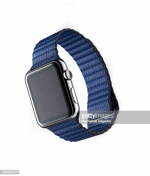 An Apple Watch with a Bright Blue leather loop taken on May 8 2015