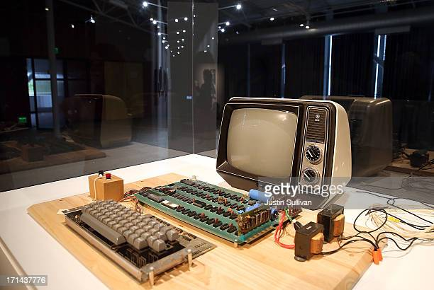 An Apple-1 computer, built in 1976, is displayed during the First Bytes: Iconic Technology From the Twentieth Century, an online auction featuring...