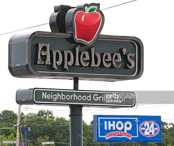 An Applebee's sign appears opposite an IHOP sign on Route 46 in Totowa New Jersey Monday July 16 2007 Ihop Corp the largest US pancakehouse chain...