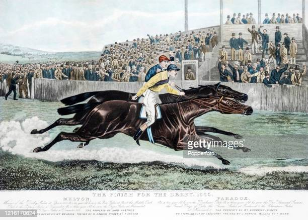An aquatint print featuring Fred Archer on Melton winning the Epsom Derby from Paradox on 3rd June 1885