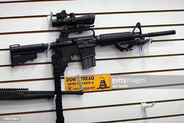 An AR-15 is seen for sale on the wall at the National Armory gun store on January 16, 2013 in Pompano Beach, Florida. President Barack Obama today in...