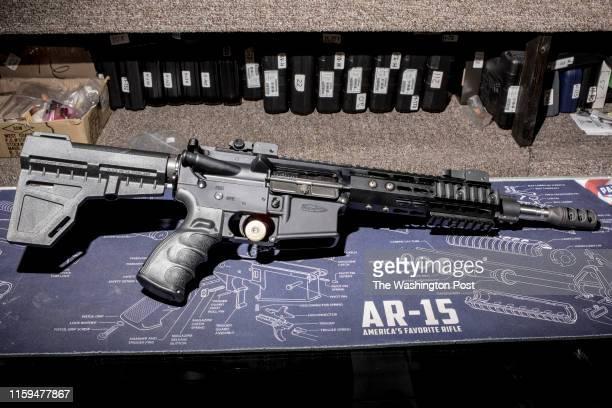 An AR-15 style rifle at Kahr Arms' Tommy Gun Warehouse on Kahr Ave., in Greeley, Penn., on Thursday, April 26, 2018.