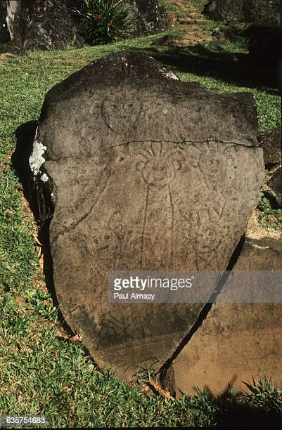 An Arawak patterned gravestone each motif subdivided into six smaller motifs found near the Three Rivers in Guadeloupe The Arawak were the Aboriginal...
