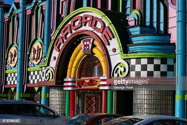 An arcade is viewed along The Parkway on October 18 2016 in Pigeon Forge Tennessee Located near the entrance to Great Smoky Mountains National Park...