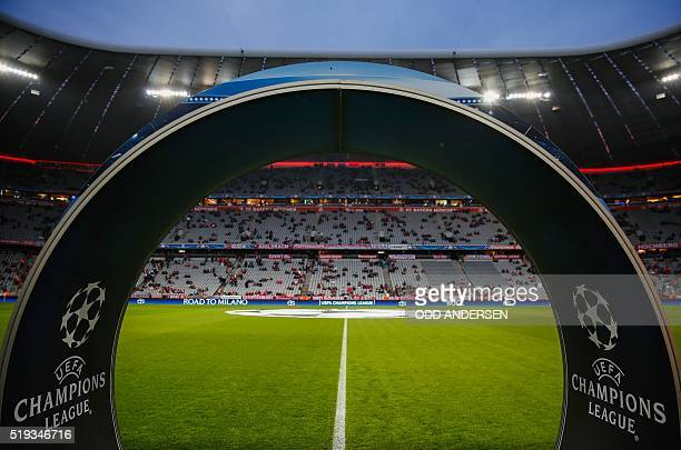 An arch leading onto the Allianz arena pitch is seen prior to kick off for the Champions League quarter-final, first-leg football match between...