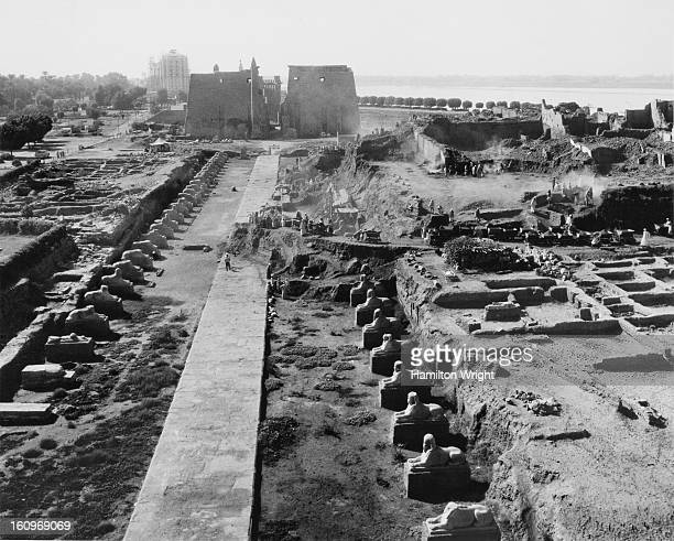 An archaeological dig under way at the Ancient Egyptian Luxor Temple complex on the east bank of the Nile Egypt circa 1955