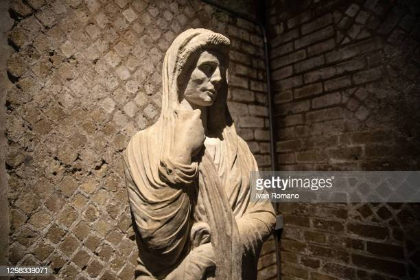 An archaeological find exhibited in the Antiquarium on January 25, 2021 in Pompei, Italy. The Antiquarium of the Archaeological Park of Pompeii opens...