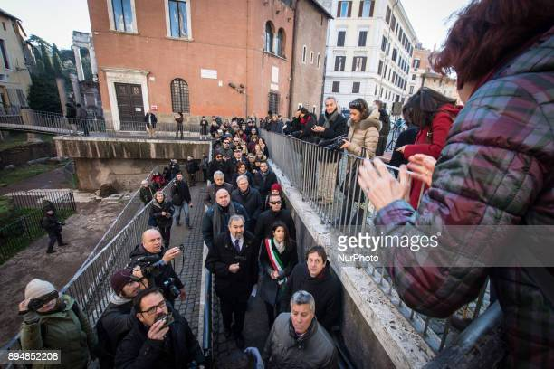ROME ITALY DECEMBER 18 an archaeological operator contests the Mayor Virginia Raggi for not thanking the workers for the restoration during The...