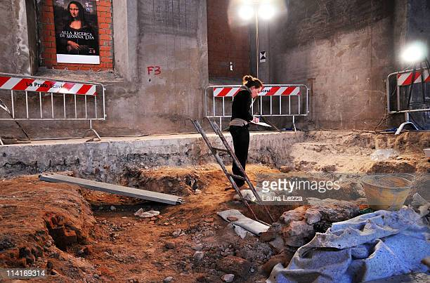 An archaeologist at work searches for the remains of Mona Lisa at the site of the convent of Sant' Orsola on May 13 2011 in Florence Italy...