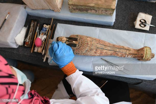 An archaeologist cleans a statue during the unveiling of an ancient treasure trove of more than a 100 intact sarcophagi, at the Saqqara necropolis 30...